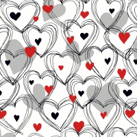 Napkins 33x33 cm - Shower of hearts red