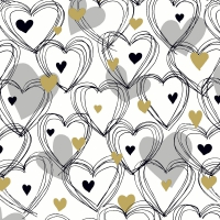 Napkins 33x33 cm - Shower of hearts gold
