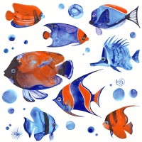 Serviettes de table 33x33 cm - Poissons tropicaux