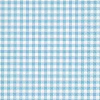 Serviettes de table 33x33 cm - Nouveau Vichy turquoise