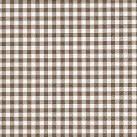 Serviettes de table 33x33 cm - Nouveau Vichy marron