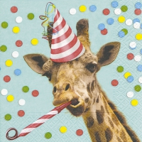 Serviettes de table 33x33 cm - Girafe de fête