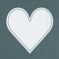 Lunch Servietten Heart grey