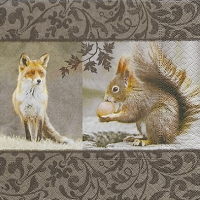 Lunch napkins Fox meets squirrel