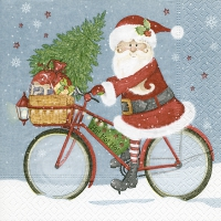 Cocktail napkins Santa on bike