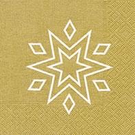 Napkins 25x25 cm - Starry gold/white