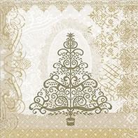 Cocktail Servietten Baroque tree gold