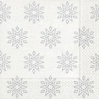 Napkins 33x33 cm - Starry white/silver