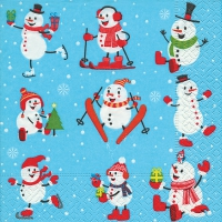 Lunch napkins Active snowmen