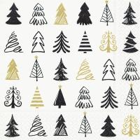 Servetten 33x33 cm - Grafische bomen