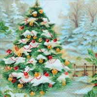Serwetki 33x33 cm - Śnieżne choinka