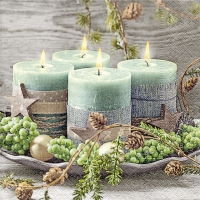 Tovaglioli 33x33 cm - Quattro candele verdi