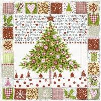 Servietten 33x33 cm - Bemalter Weihnachtsbaum