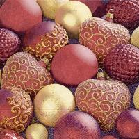 Servetten 33x33 cm - Glanzende rode kerstballen