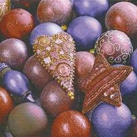 Servietten 33x33 cm - Glänzende violette Kugeln