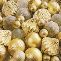 Servietten 33x33 cm - Glänzende goldene Kugeln