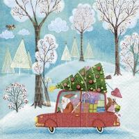 Servietten 33x33 cm - Weihnachtsmann mit dem Auto