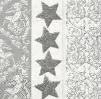 Lunch Servietten Stars n ornament silver