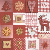 Lunch Servietten Patchwork red & white