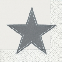 Lunch Servietten Simply star white/silver