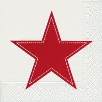 Lunch Servietten Simply star white/red