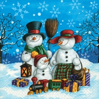Serviettes lunch Snowman family