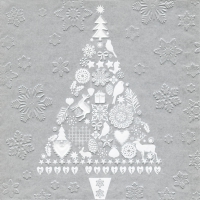 Lunch napkins Moments My Xmas tree silver