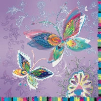 Lunch napkins Silver moon butterflies