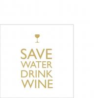 Cocktail Servietten Save Water gold