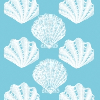 Cocktail napkins Riviera Shells aqua