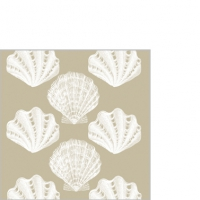 Cocktail napkins Riviera Shells taupe