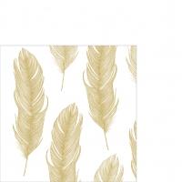 Cocktail Servietten Elegant Feather gold