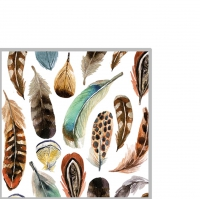 Cocktail napkins Aquarell Feathers