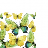 Cocktail napkins Green Butterflies