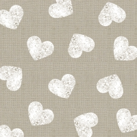 Lunch Servietten Fashion Hearts taupe white