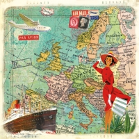 Napkins 33x33 cm - Travel to Europe
