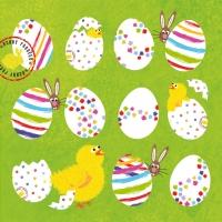 Lunch napkins Eggs allover green