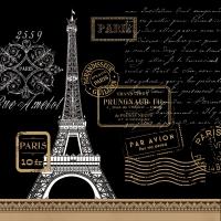 Lunch napkins Paris Rendezvous black