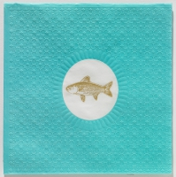 Serviettes lunch Medaillon Fish aqua