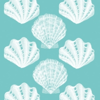 Lunch napkins Riviera Shells aqua