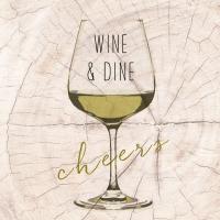 Serviettes lunch Wine & Dine white