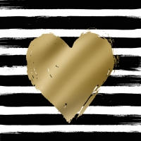 Lunch Servietten Heart & Stripes black/gold