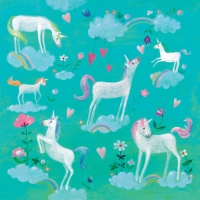 Lunch napkins White Unicorns
