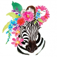 Serviettes lunch Flora Zebra