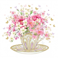 Serviettes lunch Tea Cup Blossoms