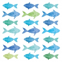 Napkins 33x33 cm - Aquarell Fishes