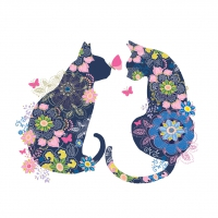 Serviettes lunch Floral Cats
