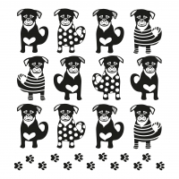 Serviettes de table 33x33 cm - Douze chiens