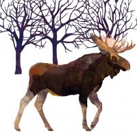 Cocktail Servietten Winter Moose