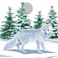 Cocktail Servietten Snow Fox